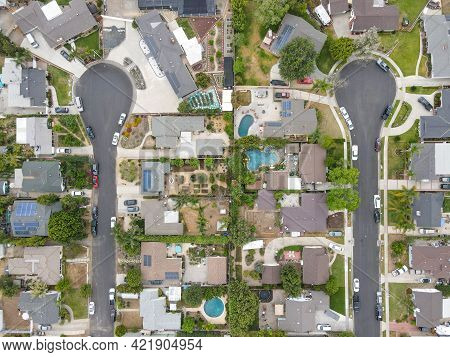 Aerial View Of Placentia During Gray Clouded Day, City In Northern Orange County, California. Usa