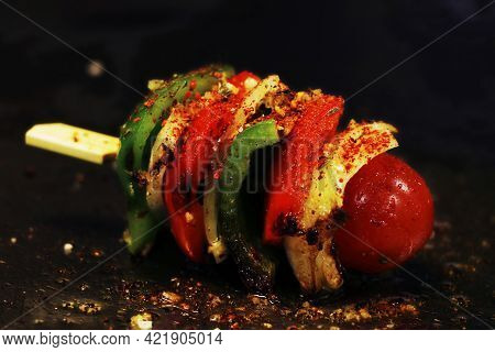 Mixed Vegetable Skewer Cooked On A Hot Grill Or Griddle