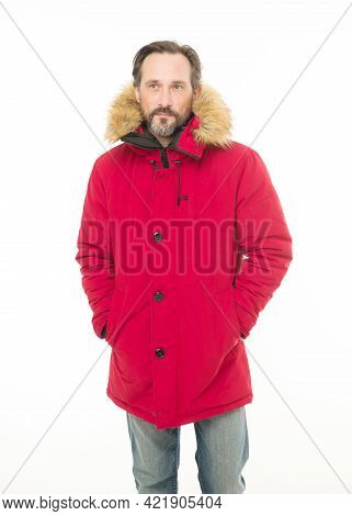 Feeling Warm And Comfortable. Bearded Man Wearing Hooded Jacket. A Stylish Winter Garment Protects H
