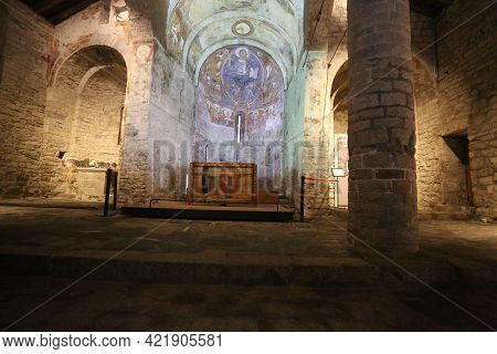 Lleida, Spain, May 1, 2020 - Interior And Ensemble Fresco Paintings Pantocrator Church Sant Climent