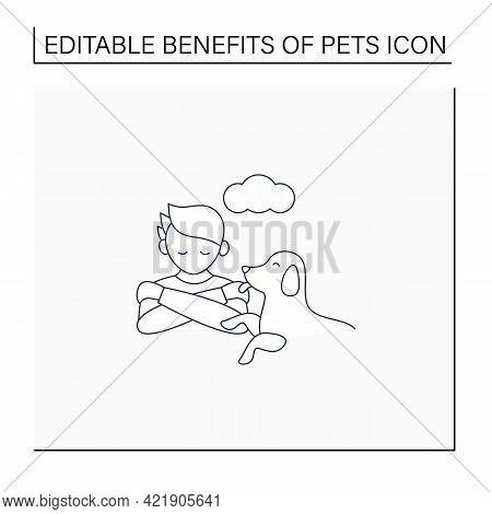 Pets Benefits Line Icon. Animals Ease Loneliness.providing Companionship.reduce Depression. Animal C