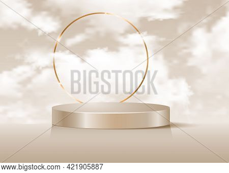 3d Platform Studio Display Minimal Scene, Gold Round Frame And Fluffy Clouds Sky. Studio Pedestal Fl