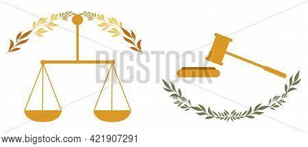 Justice Scales And Judge Gavel. Judgment Symbols Design Elements For World International Justice Day