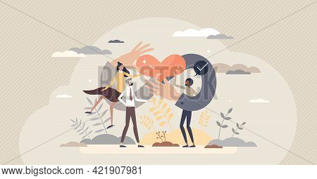 Strong Community And Connection Between Races And Genders Tiny Person Concept. Cooperation And Stron