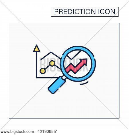 Predictive Analytics Color Icon. Future Forecasts Events. Statistics. Careful Research. Business Pre