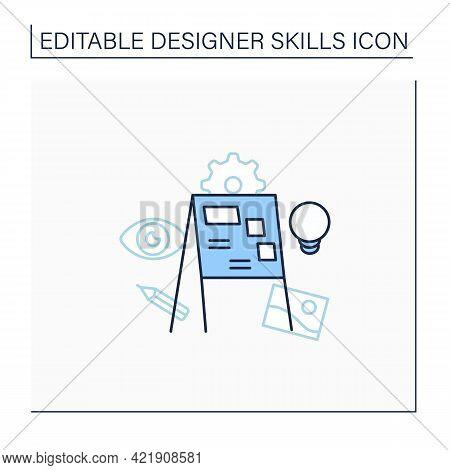 Presentation Line Icon. Visually Representing Ideas. Share Ideas With Colleagues. Designer Skills Co