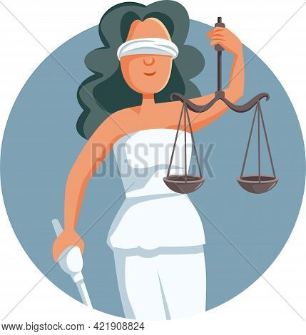 Lady Justice Logo Mascot Vector Cartoon Illustration