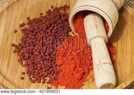 Bixa Orellana - Organic Achiote; Is A Seasoning And Food Coloring.