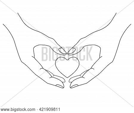 Heart In Hands Vector Editable Outline - Linear Picture. Outline. Heart In Hands Is A Symbol Of Char