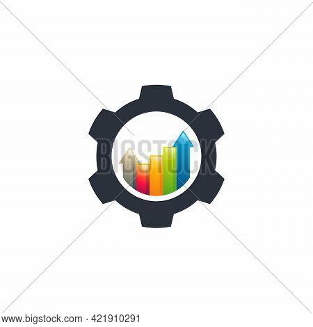Gear Stats Logo Designs Vector, Finance Logo Designs Vector, Gear Logo Template