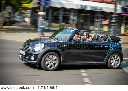 Germany - August 2015: Close-up On A Company Sign On The Minicooper For The Rental From A Company Ca