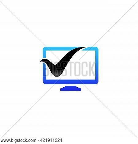 Computer Check Logo Template, Safe Computer Logo Template, Logo Symbol Icon