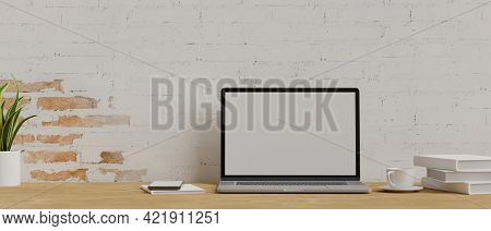 3D Rendering, Laptop With Mock-up Screen On Wooden Table In Office Workspace