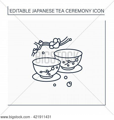 Japanese Tea Cups Line Icon. Ceremony Two Teacups With Sakura Pictures. Unique Handmade Ware. Tea Ri