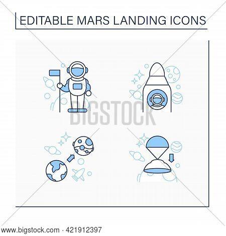 Mars Landing Line Icons Set. Uninhabited Planet. Astronaut, Spaceship, Mars Mission, Descend Rover.