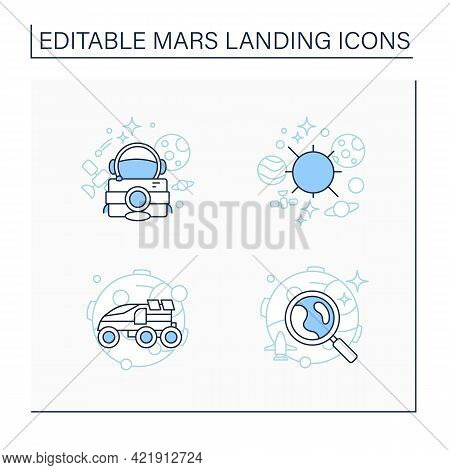 Mars Landing Line Icons Set. Uninhabited Planet. Solar System, Astronaut Camera, Perseverance Rover,