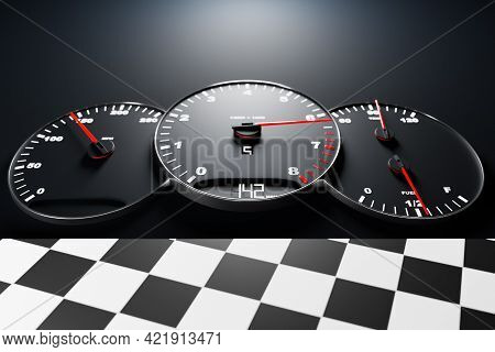 3d Illustration New Car Interior Details. Speedometer Shows 142 Km H , Tachometer  With  White Backl