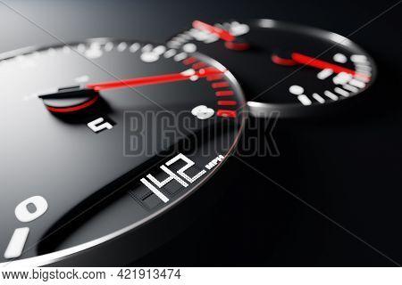3d Illustration Close Up Black Car Panel, Digital Bright Tachometer, Speedometer Shows 142 Km H. Spe