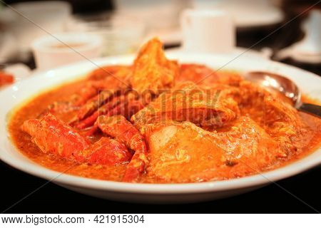 Close Up Of Chilli Crab, One Of Singapore's National Dish Using Mud Crabs Stir-fried In A Semi-thick