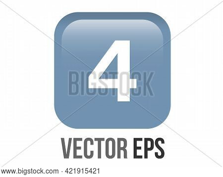 Vector Shinny Gradient Blue Keycap White Digit Four Icon Button