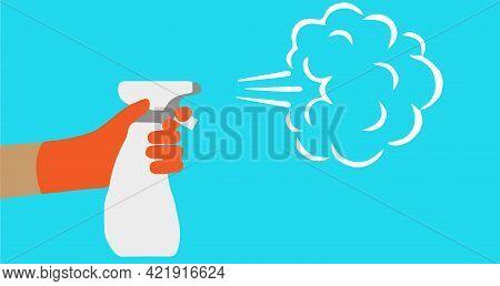 Spraying Anti Virus Sanitizer.infection Control Concept. , Wash, Water, Water Sprayer