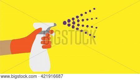 Spraying Anti Virus Sanitizer.infection Control Concept. , Wash, Water, Water