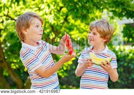 Two Little Preschool Kid Boys With Blond Hairs Eating Red And Yellow Watermelon In Summer Garden. Fu