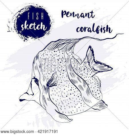 Vintage Pennant Coralfish Marine Sketch.retro Line Style.hand Drawn Underwater.