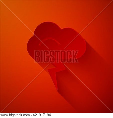 Paper Cut Storm Icon Isolated On Red Background. Cloud And Lightning Sign. Weather Icon Of Storm. Pa