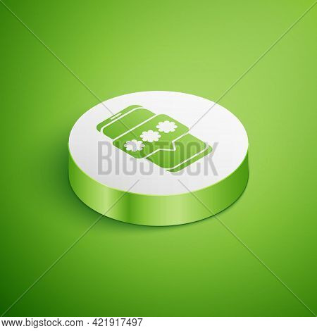 Isometric Mobile And Password Protection Icon Isolated On Green Background. Security, Safety, Person