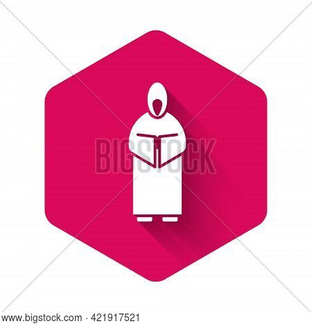 White Monk Icon Isolated With Long Shadow. Pink Hexagon Button. Vector Illustration