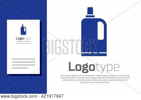 Blue Fabric Softener Icon Isolated On White Background. Liquid Laundry Detergent, Conditioner, Clean