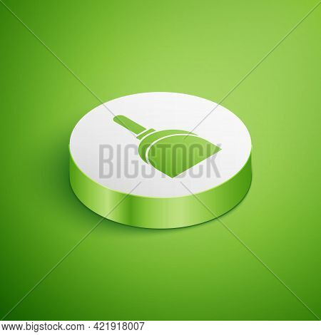 Isometric Dustpan Icon Isolated On Green Background. Cleaning Scoop Services. White Circle Button. V