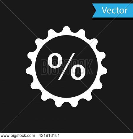 White Discount Percent Tag Icon Isolated On Black Background. Shopping Tag Sign. Special Offer Sign.