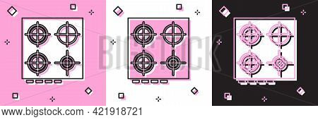 Set Gas Stove Icon Isolated On Pink And White, Black Background. Cooktop Sign. Hob With Four Circle