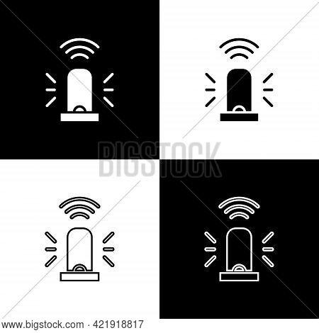 Set Smart Flasher Siren System Icon Isolated On Black And White Background. Emergency Flashing Siren