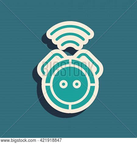 Green Robot Vacuum Cleaner Icon Isolated On Green Background. Home Smart Appliance For Automatic Vac