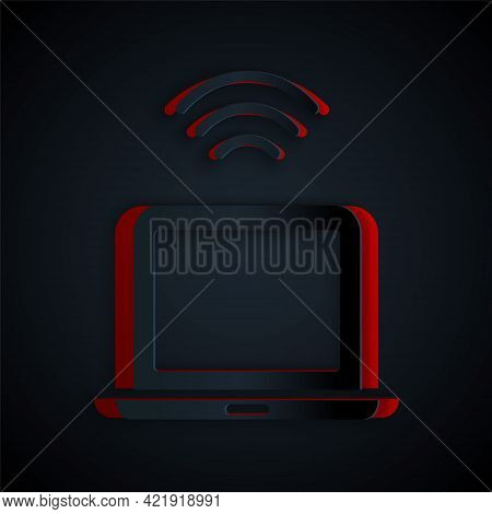 Paper Cut Wireless Laptop Icon Isolated On Black Background. Internet Of Things Concept With Wireles