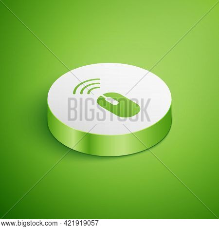 Isometric Wireless Computer Mouse System Icon Isolated On Green Background. Internet Of Things Conce