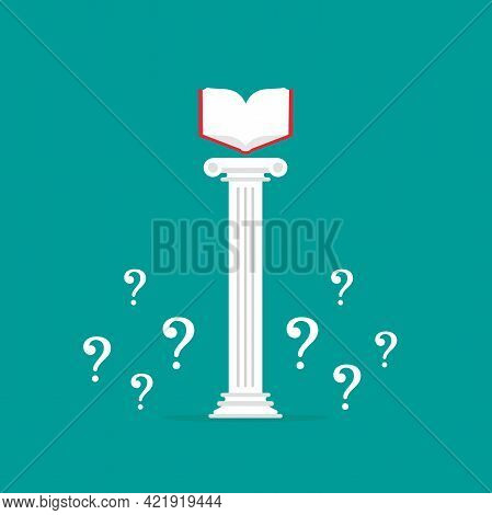 Greek Column With Open Book And Questions. Antique Pillar. Library, University Or Encyclopedia Conce