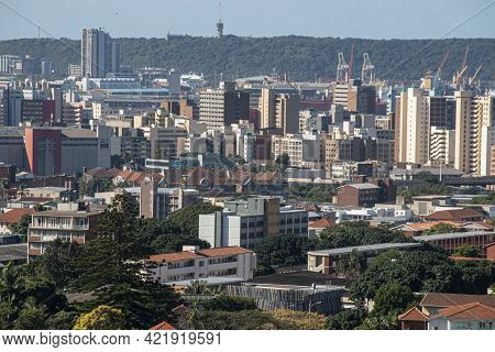 View Of Buildings In Central Durban With Bluff In Background