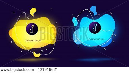 Black Fishing Hook Icon Isolated On Black Background. Fishing Tackle. Abstract Banner With Liquid Sh