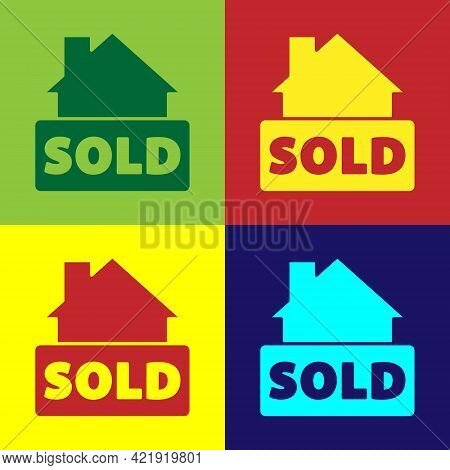 Pop Art Hanging Sign With Text Sold Icon Isolated On Color Background. Sold Sticker. Sold Signboard.