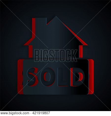 Paper Cut Hanging Sign With Text Sold Icon Isolated On Black Background. Sold Sticker. Sold Signboar