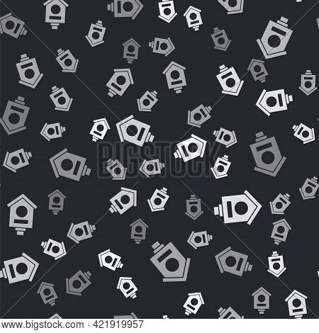 Grey Bird House Icon Isolated Seamless Pattern On Black Background. Nesting Box Birdhouse, Homemade
