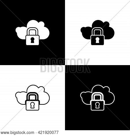 Set Cloud Computing Lock Icon Isolated On Black And White Background. Security, Safety, Protection C