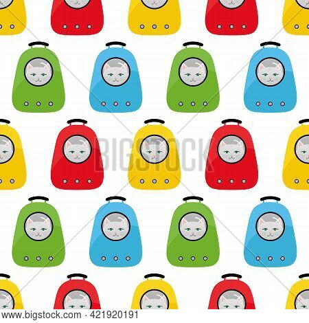 Cute Cartoon Style Colorful Rucksack Bags, Backpacks, Pet Carrier With White Cats Vector Seamless Pa