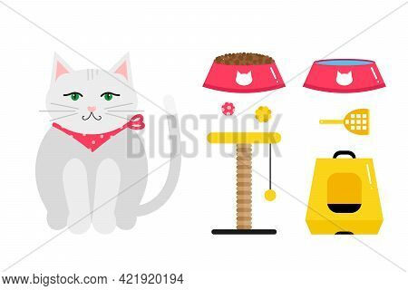 Set, Collection Of Cute And Colorful Pet Care Icons With White Cat Wearing Scarf, Cat Food Bowls, Sc