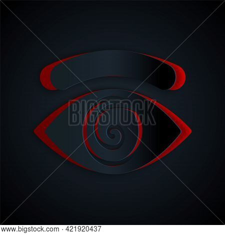 Paper Cut Hypnosis Icon Isolated On Black Background. Human Eye With Spiral Hypnotic Iris. Paper Art