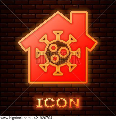 Glowing Neon Stay Home Icon Isolated On Brick Wall Background. Corona Virus 2019-ncov. Vector.